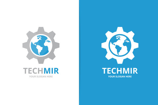Vector world and gear logo combination. Earth and mechanic symbol or icon. Unique globe and industrial logotype design template.