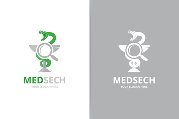 Vector medicine and loupe logo combination. Pharmacy and magnifying symbol or icon. Unique ambulance and search logotype design template.