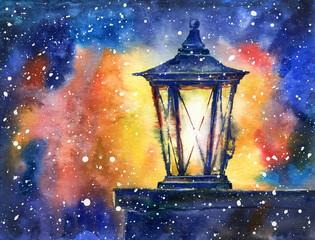 Christmas Lantern and snowflakes.Watercolor hand drawn illustration.