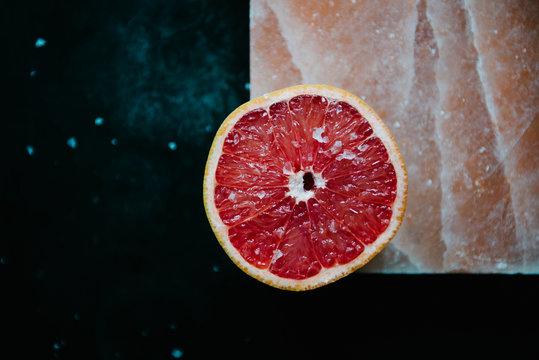 Grapefruit half with salt
