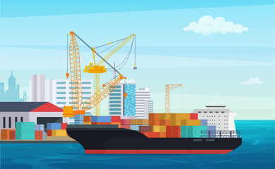 Logistics truck and transportation container ship. Cargo harbor port with industrial cranes. Shipping yard vector illustration. Fotomurales