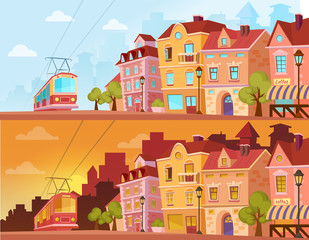 Historical city street in sunset, sunrise and sunny day. Old city urban area with tram. Cartoon vector illustration.