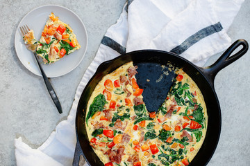 Frittata with prosciutto and spinach