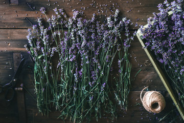 Woman arranging lavender bouquet
