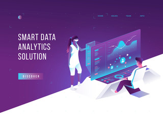 People interacting with charts and analysing statistics. Vurtual augmented reality. Customer tracking software. Data visualisation concept. 3d isometric vector illustration.