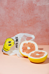 Plastic bag and pomelo