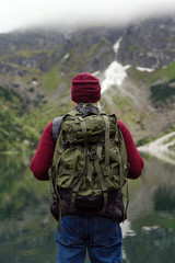 Male tourist on nature
