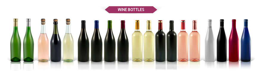 A large set of photo-realistic wine bottles on a white background with shadow and reflection. Mocap for advertising red, white and rose wine.