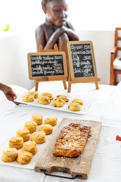 Platter of baked snacks on a table