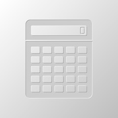 Calculator icon. Paper design. Cutted symbol. Pitted style