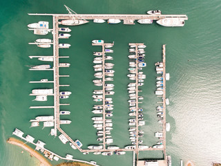 Beautiful view of yachts in port