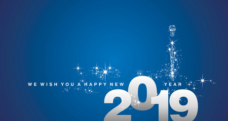 We wish you a Happy New Year 2019 silver blue greeting card