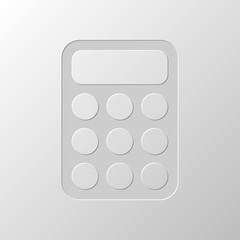 simple calculator icon. Paper design. Cutted symbol. Pitted styl