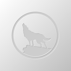 wolf. simple icon. Paper design. Cutted symbol. Pitted style