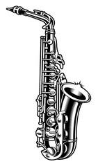 Saxophone black and white illustration