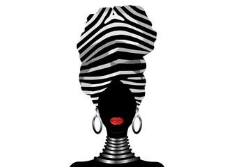 Vector Portrait African woman in traditional striped turban, Kente head wrap, dashiki printing, black afro women vector silhouette Africa batik, ethnic zebra decoration cloth, hairstyle concept logo