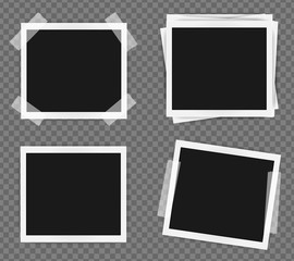 Pack of square frame template on sticky tape with shadows isolated on transparent background. Vector illustration