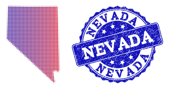 Halftone dot map of Nevada State and blue rubber seal. Vector halftone map of Nevada State designed with regular small circle points and has gradient from blue to red color.