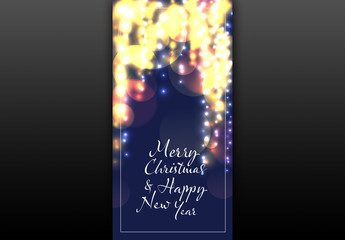 Holiday Web Banner with Lights Illustration