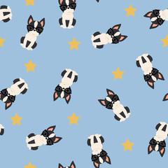Boston terrier seamless vector pattern/wallpaper.