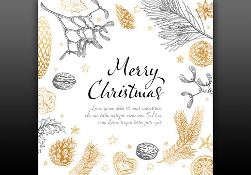 Holiday Card Layout with Hand-Drawn Illustrations