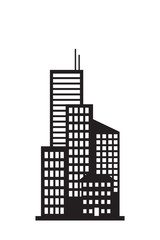 Silhouette of a city on a white background