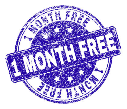1 MONTH FREE stamp seal watermark with grunge style. Designed with rounded rectangle and circles. Blue vector rubber watermark of 1 MONTH FREE title with grunge style.