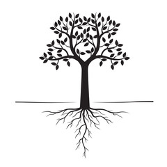 Black Trees and Roots. Vector Illustration.