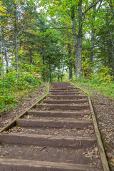 Wood trail and steps near Oldenburg Point at Jay Cooke State Park