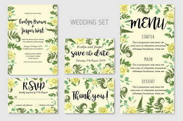 Wedding Invitation, flowers of yellow dahlia, fern leaves greenery, eucalyptus and boxwood branches, forest foliage decorative frame print