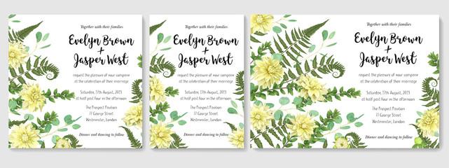 Wedding Invitation set, flowers of yellow dahlia, fern leaves greenery, eucalyptus and boxwood branches, forest foliage decorative frame print