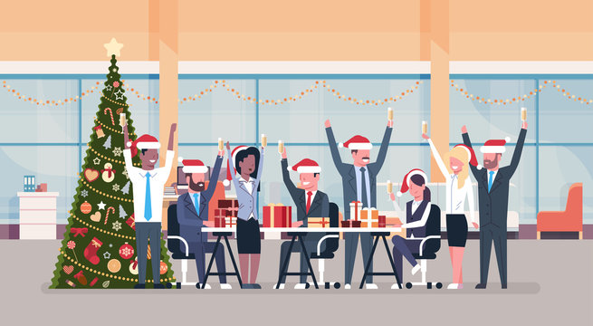 business team raised hands in modern office decorated fir tree happy new year merry christmas celebration concept flat horizontal vector illustration