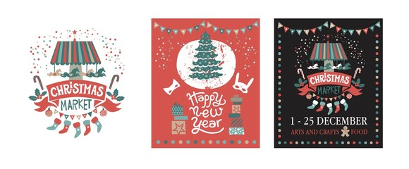 A set of posters or postcards Christmas market, Happy New year