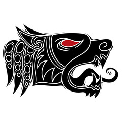 Wolf head howl design for tribal tattoo vector