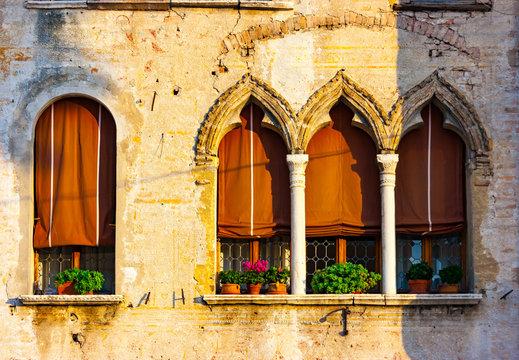 Venetian gothic house detail in Portogruaro
