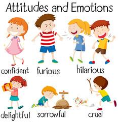 Set of children attitudes and emotions