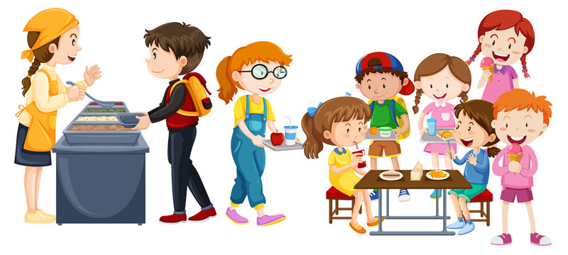 Children eating at cafeteria