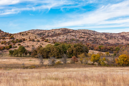 Landscape at the Wichita Mountains Wildlife Refuge, located in southwestern Oklahoma