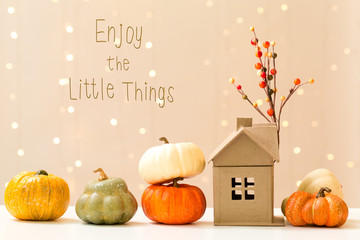 Enjoy the little things message with collection of autumn pumpkins with a toy house