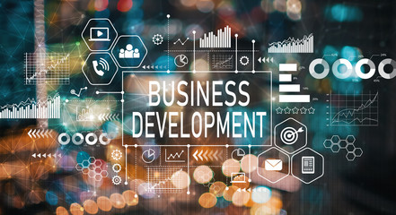 Business development with blurred city abstract lights background