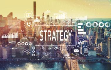 Strategy with the New York City skyline near midtown