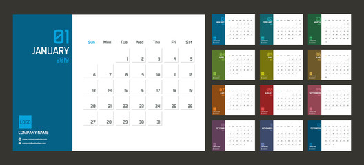 Modern minimal Calendar Planner Template for 2019. Vector design editable template with set of 12 pages for the twelve months.  Week starts sunday