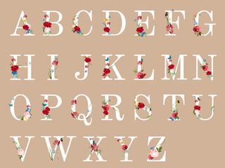 Botanical alphabet with tropical flowers illustration