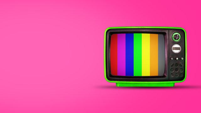 Old vintage tv on pink background