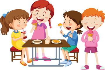 Set of children eating together