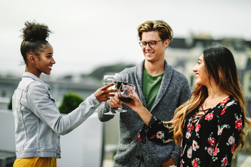 Friends toasting at a rooftop party
