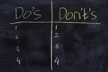 Do's or Don'ts written with color chalk concept on the blackboard