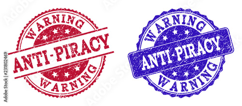 Grunge ANTI-PIRACY WARNING seal stamps in blue and red