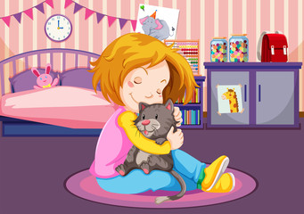 Young girl cuddling a kitten
