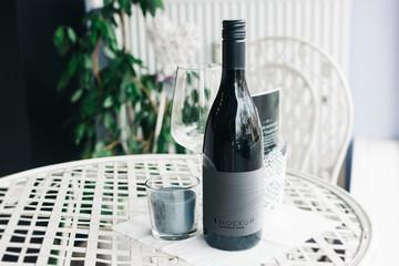 Bottle of wine mockup on a table